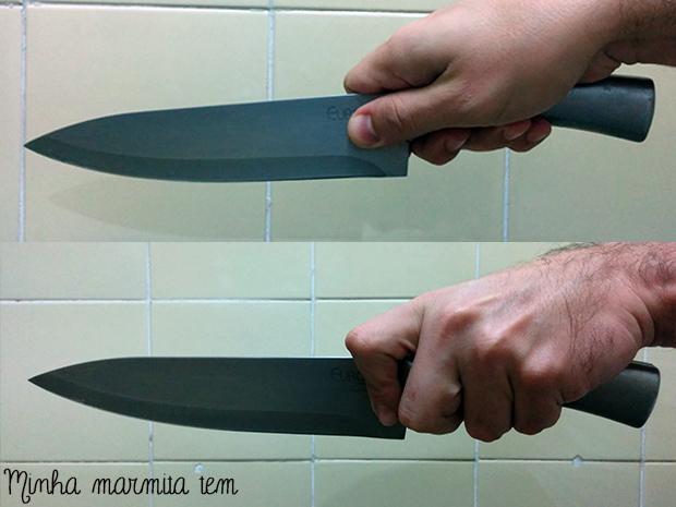 faca de chef como segurar