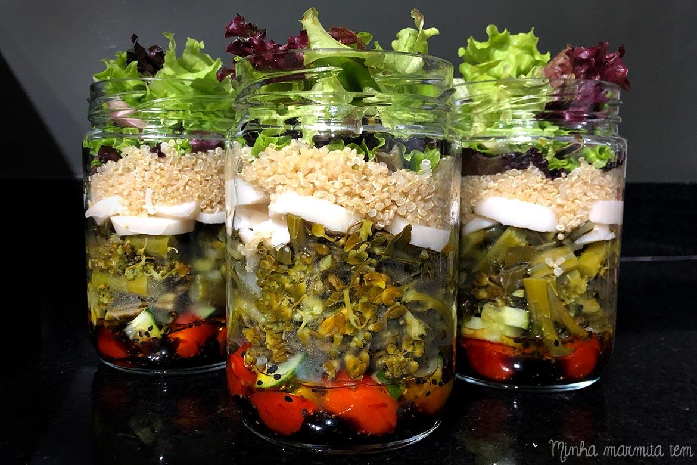salada no pote vegana